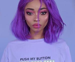 make up, purple, and girl image