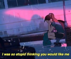 girl, sad, and rain image