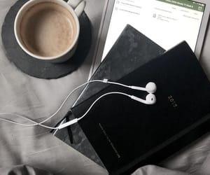 coffee, earphones, and school image