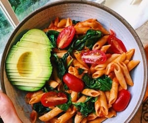 food, avocado, and pasta image