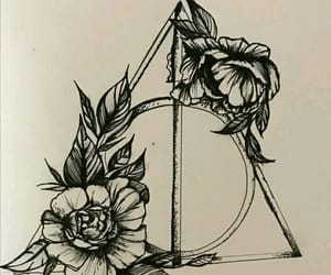 deathly hallows, drawing, and flowers image