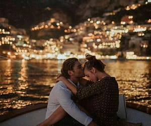 boat, couple, and night image