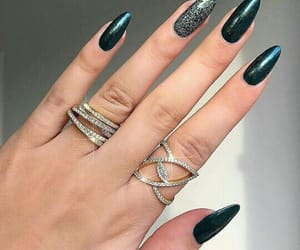 nails, green, and jewelry image