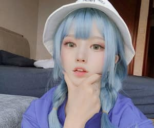 asian girl, blue hair, and child image