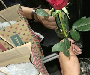 flower, gift, and heart image