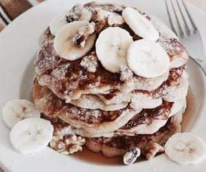 food, pancakes, and banana image