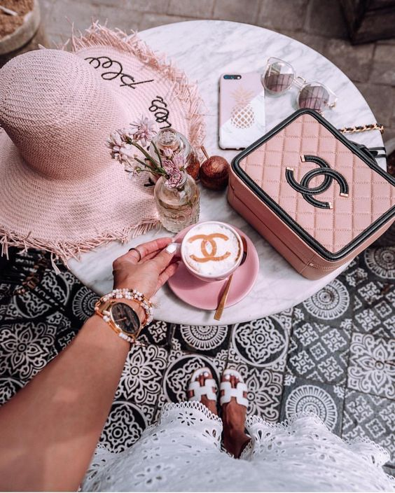 pink, chanel, and coffee image