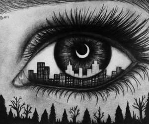 black and white, city, and eyes image