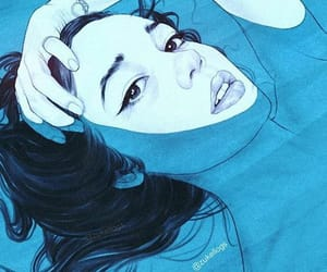 art, girl, and blue image