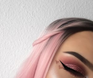 makeup, pink, and hair image