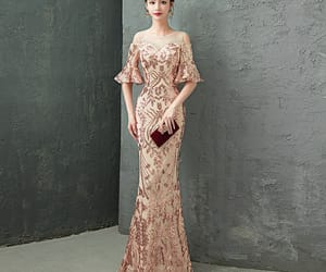 rhinestone, floor-length long, and sequins image
