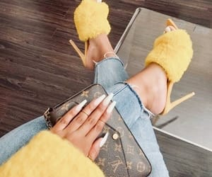 shoes, nails, and yellow image