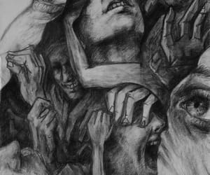 drawing, art, and dark image