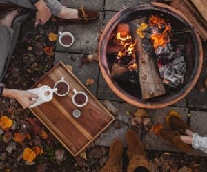 autumn, campfire, and cozy image