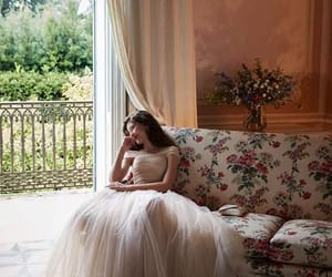 wedding dress and floral decoration image
