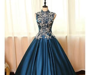 sleeveless evening dress, high neck prom dress, and prom dress ball gown image