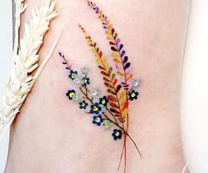 tattoo, flowers, and leaves image