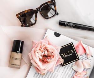 makeup, rose, and sunglasses image