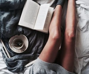 book, cozy, and bed image