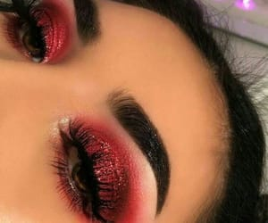 makeup, red, and eyes image