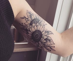 tattoo, arm tattoo, and flower image
