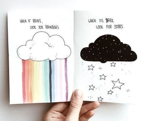rainbow, drawing, and stars image