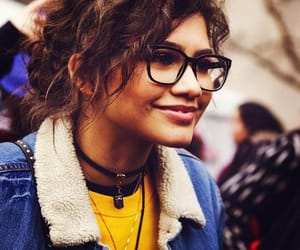 curly hair, necklace, and smile image