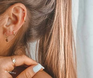 earrings, hair, and ponytail image