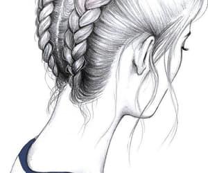 drawing, braid, and hair image
