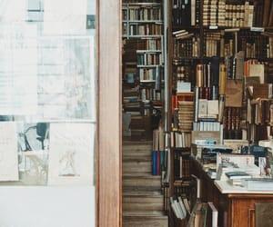 bookshelves, bookshop, and bookstore image