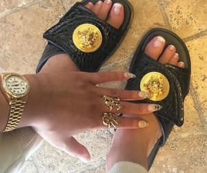 flip flops, gold, and nails image
