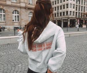 girl, grey, and hoodie image