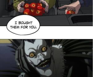 anime, apples, and death note image