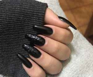 black, nail art, and nails image