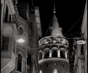 black and white, galata kulesi, and istanbul image