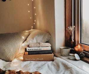 book, lights, and fall image