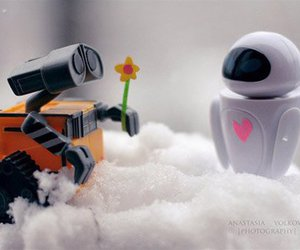 love, wall-e, and flowers image