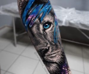 ink, lion, and tattoo image