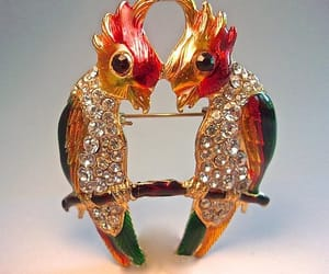 etsy, red gold green, and pave' rhinestones image