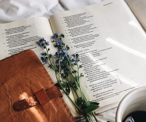 book, flowers, and notebook image