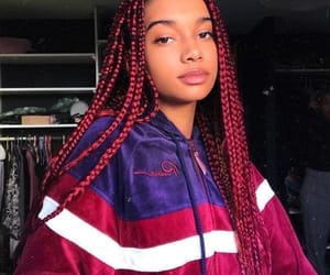 braids, hair, and red image