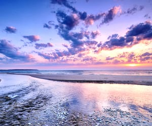 beaches, sun, and sunrise image