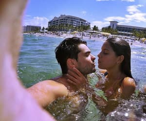 couple, beach, and donuts image