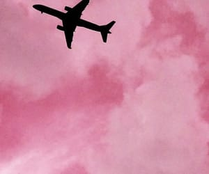 pink, airplane, and sky image