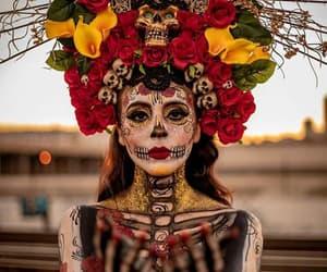 flowers, dia de muertos, and makeup image