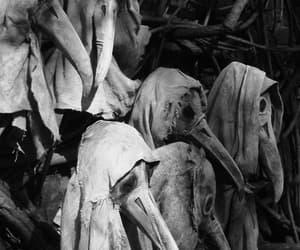 creepy, black and white, and mask image