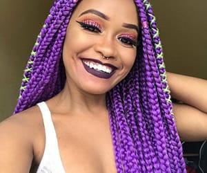 purple, smile, and tranças longas image