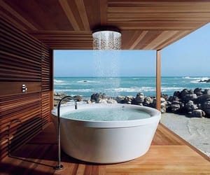 bath, bathroom, and sea image