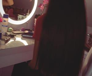 hair, long hair, and make up image