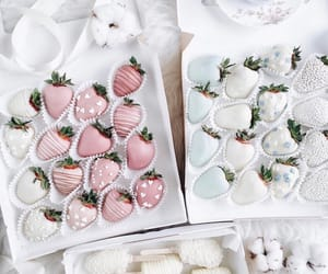 strawberry, food, and white image